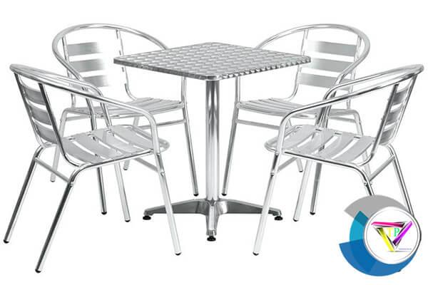 bộ bàn ghế inox tiệm cà phê